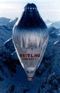 The winner Rozier balloon of Around the World Flight: the Breitling Orbiter 3