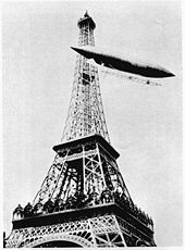 Santos-Dumont rounding the Eiffel Tower, winning the Deutsch Prize in 1901