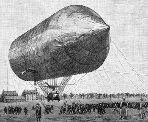 The first rigged airship by the Hungarian David Schwartz